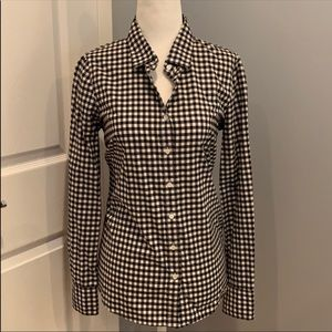 J.Crew gingham button up. Black & White